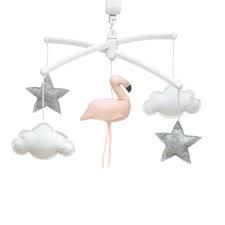 pouce et lina muziekmobiel flamingo roze / sterren grijs