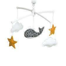 pouce et lina muziekmobiel walvis grijs gestipt